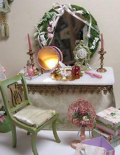 "Dressing Table Ladies Vanity. Miniature Dollhouse Furniture Biz. Janet Peters, Dollhouse Miniaturist and Decorative Painter. Table is 2"" x 4 1/4"" x 2 1/4"". | eBay!"