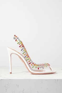 Aquazzura Temptation 105 Crystal-embellished Pvc And Leather Slingback Pumps In White Stilettos, High Heel Boots, High Heels, Gold Pineapple, White Pumps, Personal Shopping, Slingback Pump, Aquazzura, Vintage Style Outfits