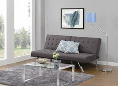 DHP Emily Futon Sofa Bed Modern Convertible Couch With Chrome Legs Quickly Converts into a Bed Rich Grey Linen -- Want additional info? Click on the image. (This is an affiliate link) #Futon
