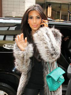 Kim Kardashian in Fur Coat in NYC on October 21, 2011