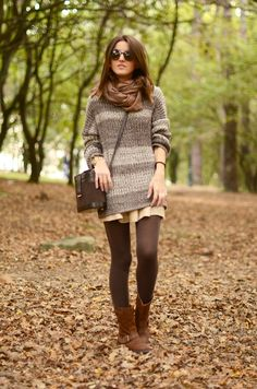 Great oversized vibe for weekend, though I'd swap in baggy winter shorts for myself. Would also trade the brown scarf/tights/boots for cream, black, olive or taupe.