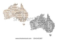Sketch Australia letter text continent, Australia word - in the shape of the continent, Map of continent Australia - brown and black vector illustration Map Of Continents, Sketch, Diagram, Australia, Shape, Stock Photos, Lettering, Words, Brown