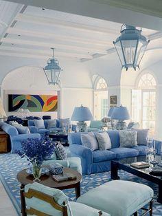 Blue Geometric Living Room - blue lanterns above  MyHomeIdeas.com