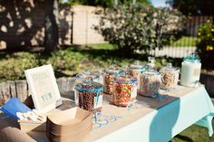 now, this is adorable!! A cereal bar!! Cmon!! This was for a surfer first birthday brunch, but can be used for any brunch type situation!!