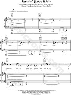 Runnin' (Lose It All) sheet music by Naughty Boy feat. Beyonce