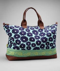 Amy Butler Navy Poppies Meris Duffel Bag