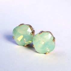 Mint Green Opal Crystal Stud Earrings Classic Sparkling Seafoam Solitaire Swarovski 12mm or 10mm Sterling Post & Copper - Women's Jewelry