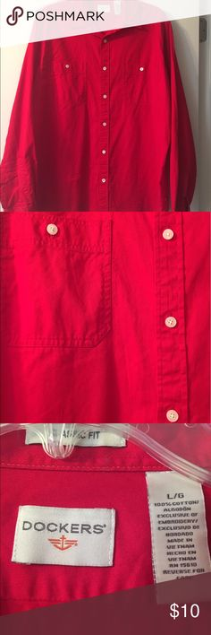 Red Dockers Button Down Shirt Red button down shirt from Dockers is in excellent condition! Red with white buttons. 2 pockets. Classic fit. 100% cotton. Dockers Shirts Dress Shirts