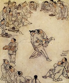 UNESCO's World Heritage Committee has listed traditional wrestling as an intangible cultural asset in both North and South Korea. This is the first time that the two Koreas have listed an intangible cultural asset together. Korean Art, Asian Art, Korean Food, Korean Painting, Japanese Painting, Korean Entertainment News, Figure Painting, Japanese Art, Japanese Crane