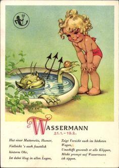 Künstler Ansichtskarte / Postkarte Sternzeichen Wassermann, Aquarius, 21. Januar bis 18. Februar