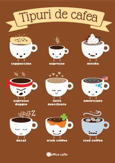 Tipuri de cafea, cappuccino, espresso, mocha, espresso doppio, espresso dublu, latte macchiato, americano, decaf, dacafeinizat, irish coffee, cafea irlandeza, iced coffee, office caffe, cafea la birou, experienta celei mai bune cafele la biroul tau. Copyright Office Caffe 2014