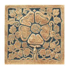 Tudor Rose Tile - Handmade reproduction tile inspired by Ernest Batchelder's Arts & Crafts tiles. Batchelder tiles were made in Pasadena and Los Angeles from 1909 to 1959.