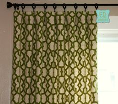 96L x 50W Flocked Curtains Trellis Custom Curtain Panels Home Accents Jotto Olive Green