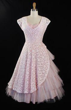 Vintage 1950s PROM Dress 50s Dress Pink Crochet by GeronimoVintage