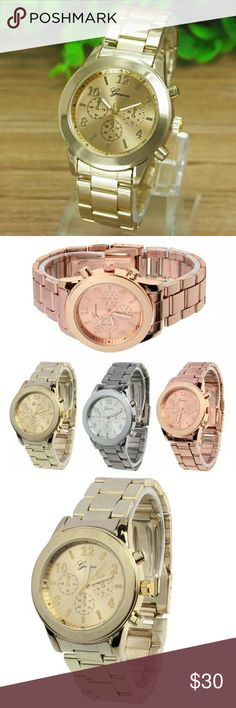 GORGEOUS LADIES GOLD QUARTZ WATCH GORGEOUS LADIES GOLD QUARTZ WATCH Geneva Ladies Women Stainless Steel Quartz Wrist Watch  Feature:  100% brand new and high quality.  Quantity: 1  Style: Fashion & Casual  Dial Material:Alloy  Strap Material:Stainless Steel  Case material:Alloy  Display: Analog  Movement: Quartz  Case Diameter: 3.6cm  Case Thinkness:0.7cm  Band Width: 1.8cm  Daily water resistance (not for showering and swimming)  Surface Material: Glass  Color:Gold,Rose Gold,Silver GENEVA…