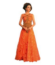 Aramani Fashion Orange Net Gowns