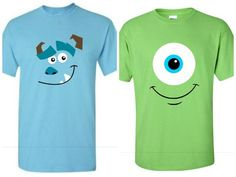 Monsters Inc inspired shirts Family by FancyFunctionDesigns Disney Shirts For Family, Couple Shirts, Family Shirts, Monster Inc Costumes, Monsters Inc Baby, Mike And Sully, Family Halloween Costumes, Halloween Ideas, Vinyl Shirts