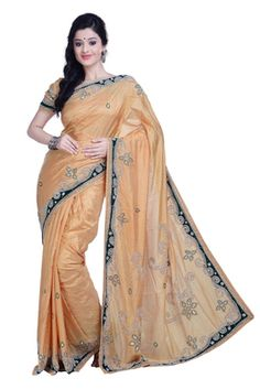 Beige Pure Silk Saree With Blouse By Ambition Saree Silk Sarees on Shimply.com