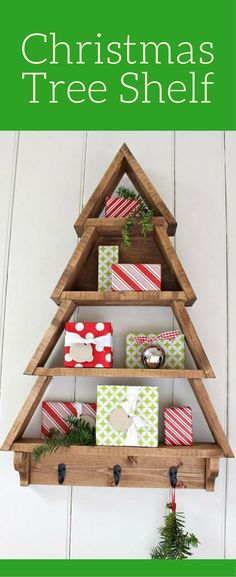 This Christmas tree shelf would be perfect for little Christmas figurines or little decorative presents. LOVE! Custom Christmas Tree Shelf, Rustic Christmas decor, Farmhouse Christmas Christmas wall decor, Christmas sign #ad