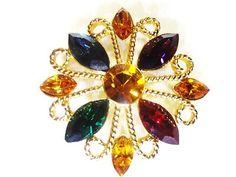 """Vintage Estate Napier Signed Gold and Multi Gem Summer Colors 1 1/2""""Brooch RARE!"""