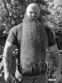 for men who love long bearded men Bald With Beard, Bald Men, Hairy Men, Bearded Men, Long Beard Styles, Hair And Beard Styles, Long Hair Styles, Great Beards, Awesome Beards