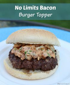 No Limits Bacon BBQ Burger Topper recipe - this is so yummy and adds the perfect touch to any dinner or lunch! It's International Bacon Day on Saturday, celebrate with this yummy burger!