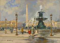 Fountain on Place de la Concorde - Edouard Cortes - WikiPaintings.org