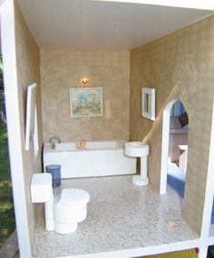 Dollhouse Decorating!: How to make some basic homemade wooden dollhouse bathroom furniture