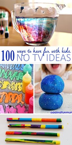 100 Awesome TV Free Activities For Kids - - Keep the kids away from the TV with these 100 TV-Free Activities for Kids. So many ideas and activities for kids that don't require TV. Free Activities For Kids, Summer Activities, Games For Kids, Diy For Kids, Kids Fun, Kids Activity Ideas, Family Activities With Toddlers, Indoor Family Activities, Kid Activites