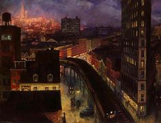 """John Sloan depicts a moody Village set apart from the rest of the city in his 1922 painting """"The City From Greenwich Village.""""  In his notes, he had this to say about the setting, the light, and """"chopped up modern New York"""":  """"Looking south over lower Sixth Avenue from the roof of my Washington Place studio, on a winter evening. The distant lights of the great office buildings downtown are seen in the gathering darkness. The triangular loft building on the right had contained my studio for…"""