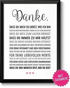 Danke Liebesgeschenke Bild mit Rahmen Geburtstagsgeschenkidee Jahrestag Ostern H… Thank you love gifts picture with frame birthday gift idea anniversary easter wedding anniversary engagement for men women girlfriend boyfriend couple couple partner