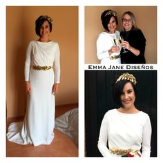 Tocado y cinturón de Emma Jane Diseños , vestido de ColourNude, novia Macarena Dominguez