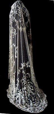 Exquisite Antique Lace Cameo Wedding Veil