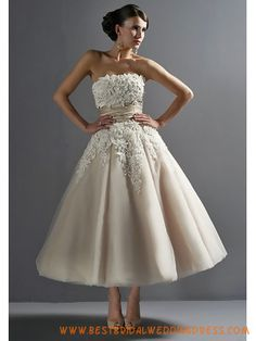 Champagne tulle with lace applique Tea-lenth Wedding Dresses
