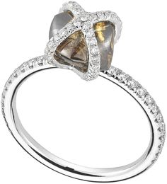Embrace ring featuring a 2.91ct rough diamond accented with 0.42cts of micro pavé diamonds in pla...