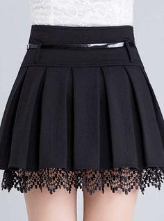 Women's Fashion Belt Waist Lace Trim A-Line Plain Pleated Mini Skirt Damenmode Gürtel Taille Lace Trim A-Line Plain Plissee Minirock – Skirt Outfits, Dress Skirt, Lace Skirt, The Dress, Lace Maxi, Lace Ruffle, Skirt Pants, Baby Dress, Waist Skirt
