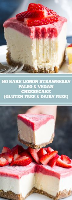 No Bake Lemon Strawberry Paleo & Vegan Cheesecake (Gluten Free & Dairy Free) - a. - Manger et boire Cheesecake Sans Lactose, Paleo Cheesecake, Gluten And Dairy Free Cheesecake Recipe, Dessert Sans Gluten, Paleo Dessert, Dessert Recipes, Drink Recipes, Paleo Vegan, Vegan Cake