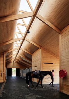 Elongated skylight illuminates Chilean stables by Matias Zegers Architects – Structure - architecture house Timber Architecture, Timber Buildings, Concept Architecture, Architecture Details, Sustainable Architecture, Roof Design, Ceiling Design, House Design, Art Design