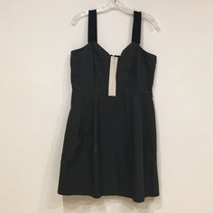 ‼️Lowest‼️ Jcrew gray dress Jcrew gray dress with ribbon straps. Zips up the back. Straps need to be redone as shown in picture. Bust: 17. Length: 34. 100% cotton. Lining: 100% polyester    / no trades, J. Crew Dresses