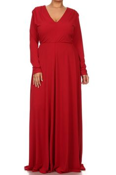 Plus Size Fit & Flare Maxi Dress in Red