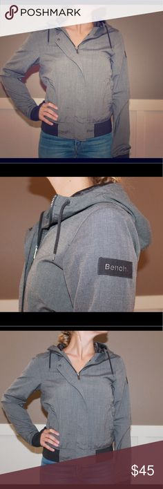 Bench. Jacket Gray light-weight jacket. Perfect for spring and fall. Insulated lining on the inside of the jacket. Maybe worn 5 times Bench Jackets & Coats