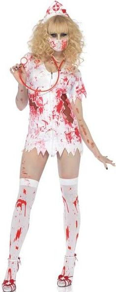 FANCY DRESS BLOODY NURSE BETTY COSTUME - ZOMBIE NURSES OUTFIT - LADIES GORY HALLOWEEN COSTUMES