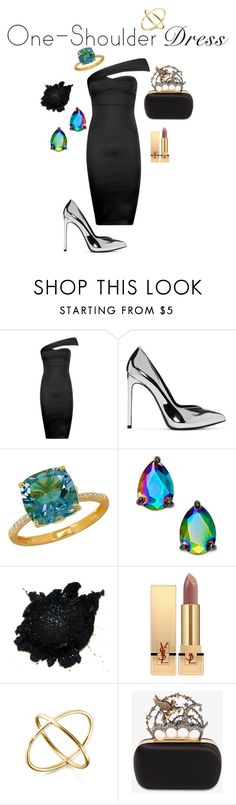 """""""One Shoulder Chic"""" by hilaryrowe3891 ❤ liked on Polyvore featuring Boohoo, Yves Saint Laurent, Lord & Taylor, Kate Spade, Alexander McQueen, Silver, silvershoes, oneshoulder, OneShoulderDress and delicatering"""