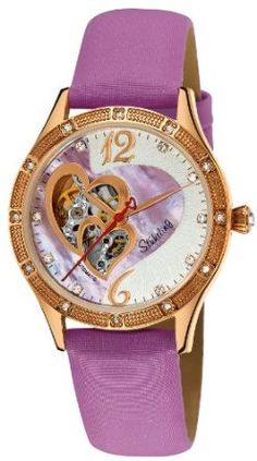 Stuhrling Original Women's 196A.124Q4 Vogue Harmony Automatic Skeleton Swarovski Crystals Mother-Of-Pearl Purple Watch