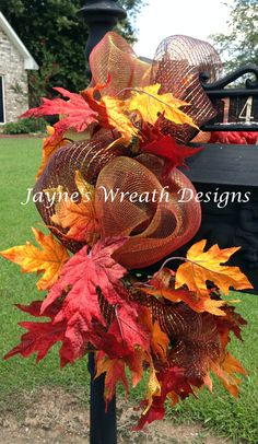 Fall Leaves Mailbox Swag   Jayne's Wreath designs on fb