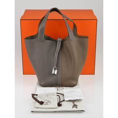 Hermes Special Order Bi-Color Etain/Etoupe Clemence Leather Picotin PM Lock Bag