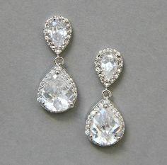 Wedding+pear+cut+earrings+rhinestones+by+LavenderByJurgita+on+Etsy,+$47.00