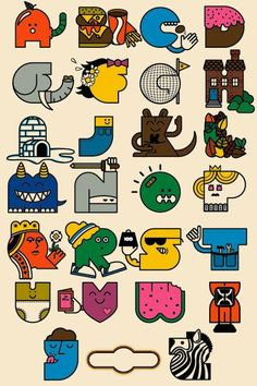 Cool retro illustrated alphabet typography cartoon theme