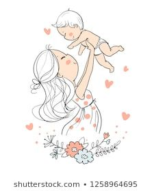 Embroidery Patterns Love Mom 28 New Ideas Mother Daughter Art, Mother Art, Mom Son, Mother And Child, Mother Mother, Doodle Drawings, Cute Drawings, Doodle Art, Art Anime Fille