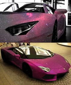 OmgLamborghini Aventador rides with pink galaxy paint all over it